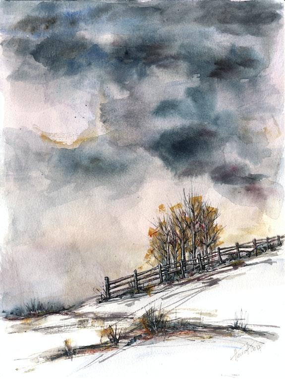 L'hiver est arrivé - aquarelle originale. Aniko Hencz Aniko Hencz