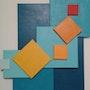 Rouge-Turquoise abstrait géométrique acrylique. Sculpeinteconceptdany