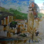 Collioure le fort et l'église. Monique Malbert