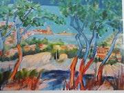 Collioure vue du petit bois de chênes lièges. Monique Malbert