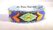 Bracelet en jean tissé motif péruvien. Agnesmdesigns
