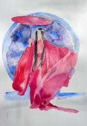 Aquarelle une femme japonaise.