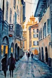 Walking in Bergamo.
