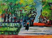 Toile peinture tableau / Parisienne au jardin du Luxembourg / Akoun.