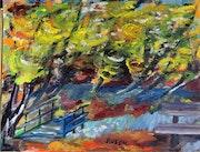 Toile peinture tableau / Bois en Gironde / Akoun. Mireille Puech