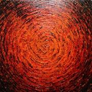 Malen mit einem Messer : Scherbe roter Farbe..