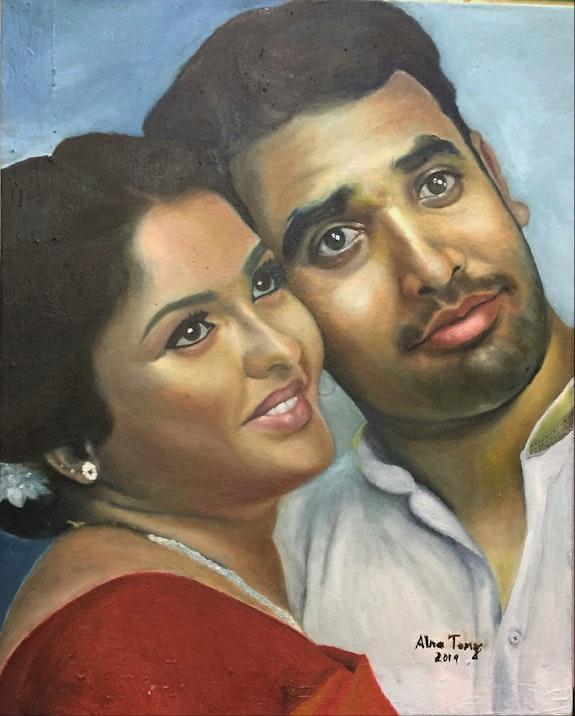 Custom portrait oil painting.  Alna Poulose
