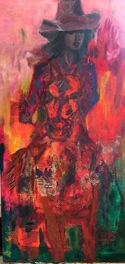 Cowgirl on Fire - Mixed Media Western Art. Ane Howard Fine Art Gallery