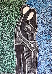 Artwork israeli modern painters drawing couples. Mirit Ben-Nun