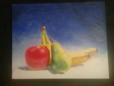 Still-life,  banana,  apple,  pear. Wanda Gqala
