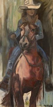 Go West Cowgirl Western Art. Ane Howard Fine Art Gallery