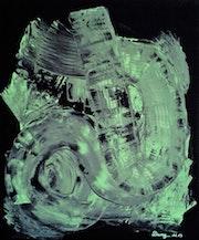 Ligne verte abstrait acrylique.