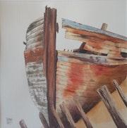 Epave de bateau, peinture rouge.