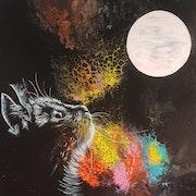 Rêverie de chat au clair de lune !.