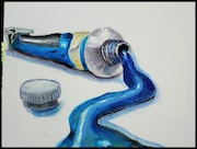 Blue Paint Tube on white background. Mike Martin