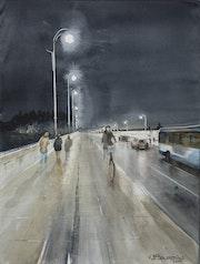 Balade nocturne et humide sur le pont Neuf à Toulouse.