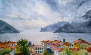 Lake View - Watercolor Landscape.
