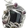 Steampunk Black Tourmaline Pendant with Rhodolite Garnet. Heather Jordan Jewelry