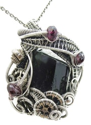 Steampunk Black Tourmaline Pendant with Rhodolite Garnet.
