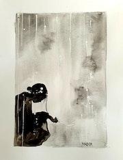 Femme sous la neige, encre de chine et aquarelle.