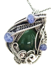 Nephrite Jade Wire-Wrapped Pendant with Tanzanite.