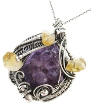 Amethyst Druzy Pendant with Citrine, Wire-Wrapped in Sterling Silver.