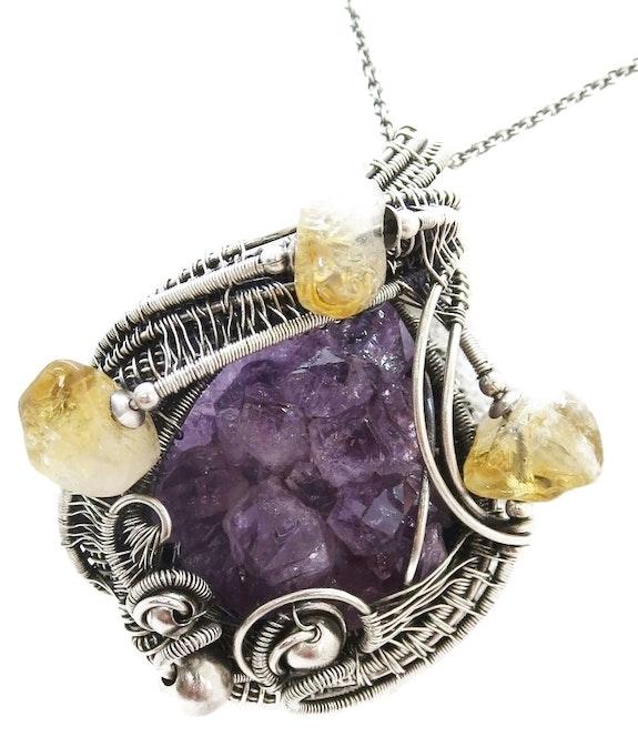 Amethyst Druzy Pendant with Citrine, Wire-Wrapped in Sterling Silver. Heather Jordan Heather Jordan Jewelry