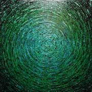 Leinwand mit einem Messer : Grünblaue Farbe..
