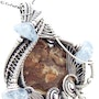 Petrified Wood Pendant with Aquamarine in Sterling Silver. Heather Jordan Jewelry