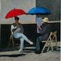 Parapluie sur le pont Charles à Prague. Cesar Luciano