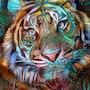 Sunday - Tiger 70x50 cm on panel. Léa Roche