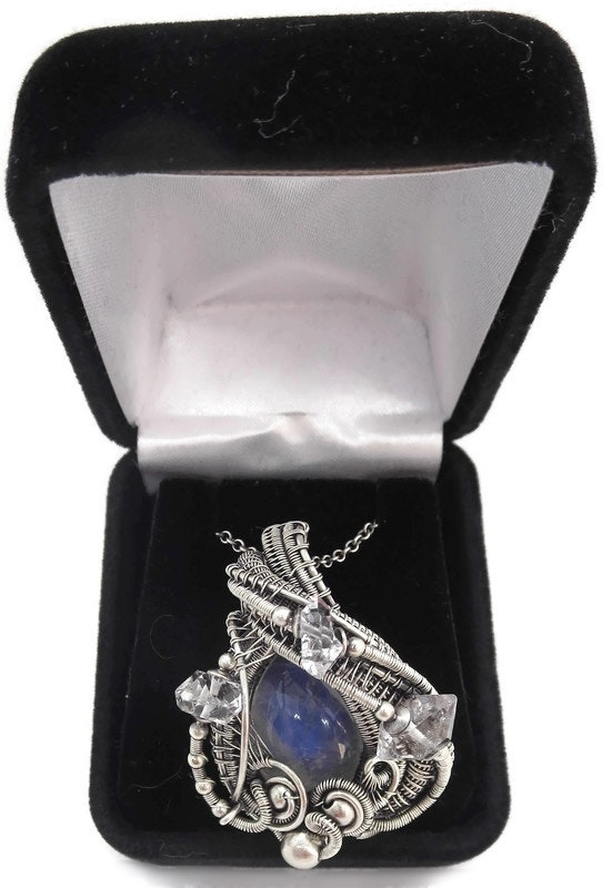 Rainbow Moonstone Pendant with Herkimer Diamonds in Sterling Silver. Heather Jordan Heather Jordan Jewelry