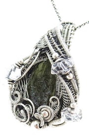 Moldavite Pendant with Herkimer Diamonds in Sterling Silver.