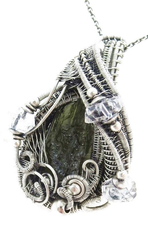 Moldavite Pendant with Herkimer Diamonds in Sterling Silver. Heather Jordan Heather Jordan Jewelry