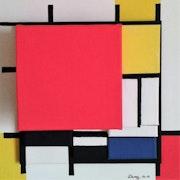 Mondrian hommage abstrait géométrique acrylique sur toile. Sculpeinteconceptdany