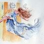 Aquarelle la femme sur la balancoire. Yokozaza