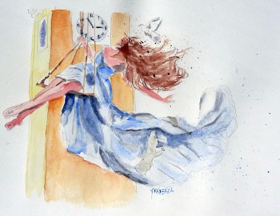 Aquarelle la femme sur la balancoire. Yokozaza Yokozaza