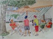 Terrasse de café à Brides les Bains.