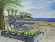 Statue face à la plage de Banyuls/Mer.