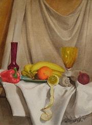 Still life with bananas and lemon. Jacek