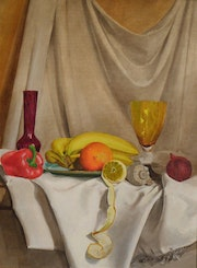 Still life with bananas and lemon.