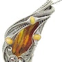 Baltic Amber Pendant with Fly Inclusion & Ethiopian Opals. Heather Jordan Jewelry