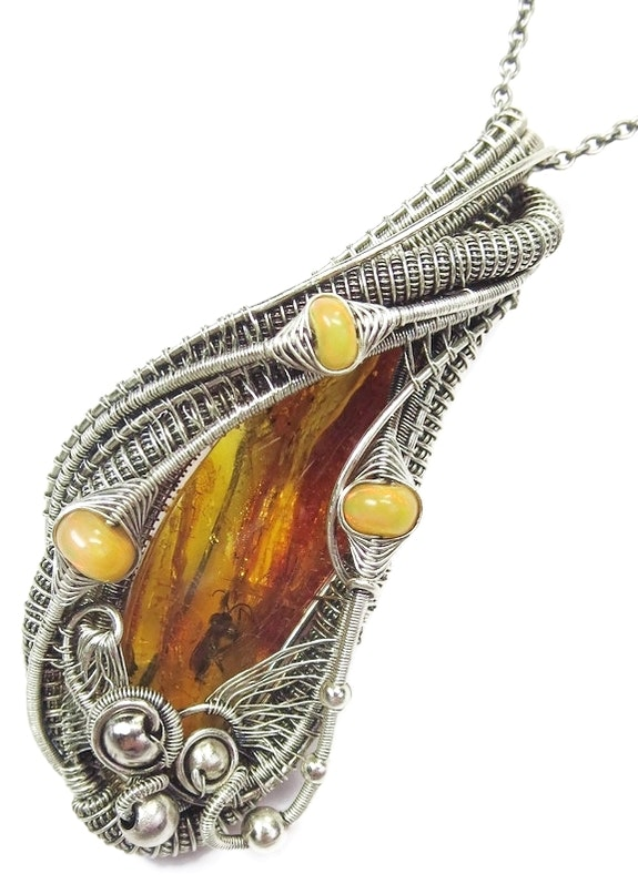 Baltic Amber Pendant with Fly Inclusion & Ethiopian Opals. Heather Jordan Heather Jordan Jewelry
