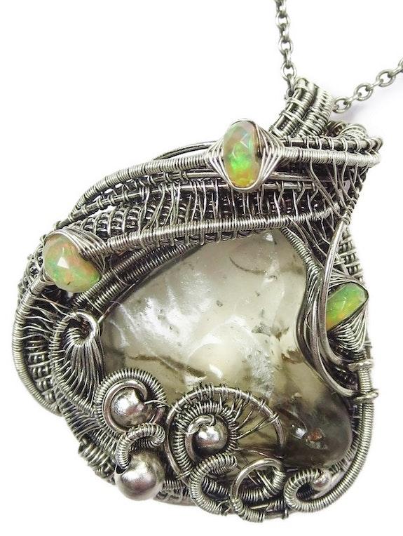 Libyan Desert Glass & Ethiopian Welo Opal Pendant, Wire-Wrapped in Sterling Silv. Heather Jordan Heather Jordan Jewelry
