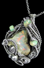 Ethiopian Desert Opal & Ethiopian Welo Opal Pendant, Wire-Wrapped in Sterling s.
