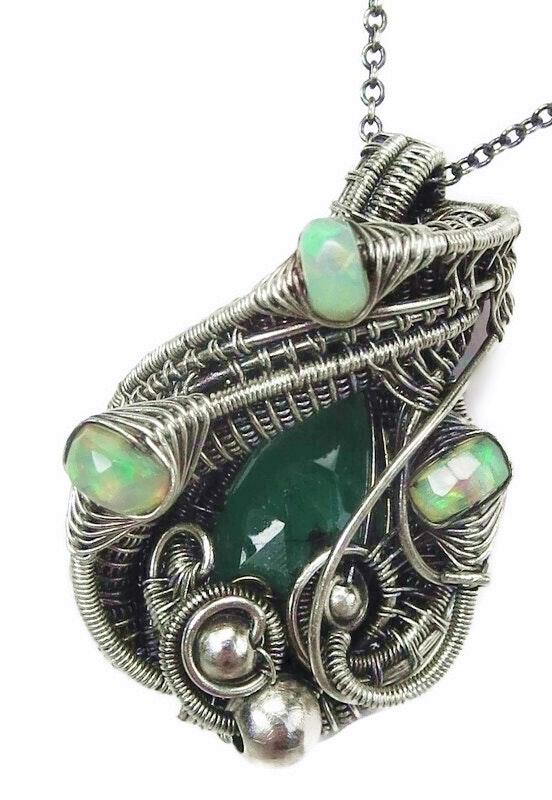 Emerald Pendant with Ethiopian Opals, Wire-Wrapped in Sterling Silver. Heather Jordan Heather Jordan Jewelry