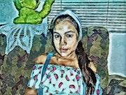 La Caperucita en azul (pintura digital).