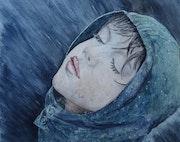 Visage d'enfantoffert à la pluie. Sylvie Agret