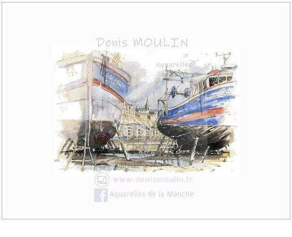Or 2-73 chalutiers à sec. Sur le port de Granville. Dm Denis Moulin
