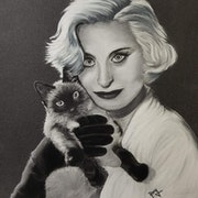 Michèle Morgan et son chat !. Anny Burtscher-Beaudoin